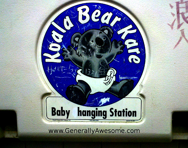 A prankster in a Clarendon, TX bathroom took away one little letter to make this inot a baby hanging station