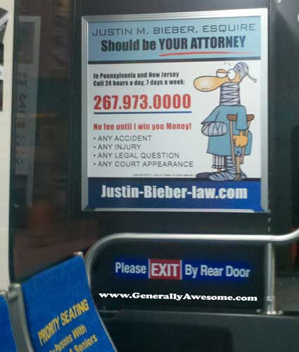 This ad is real, who knew Justin Bieber had a law degree!
